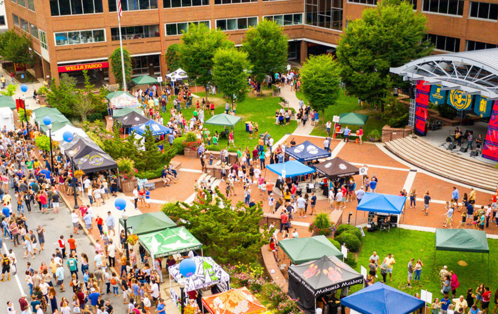 aerial view of Lancaster Craft Beerfest in Binn's Park