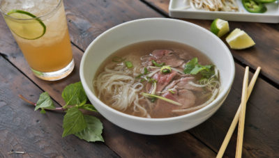 Beef and noodle soup from Sprout